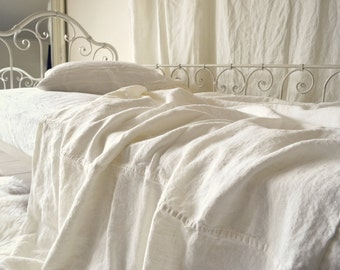 Ivory Rustic Rough Heavy weight Linen Bed Cover/ Coverlet/ Linen Summer Blanket
