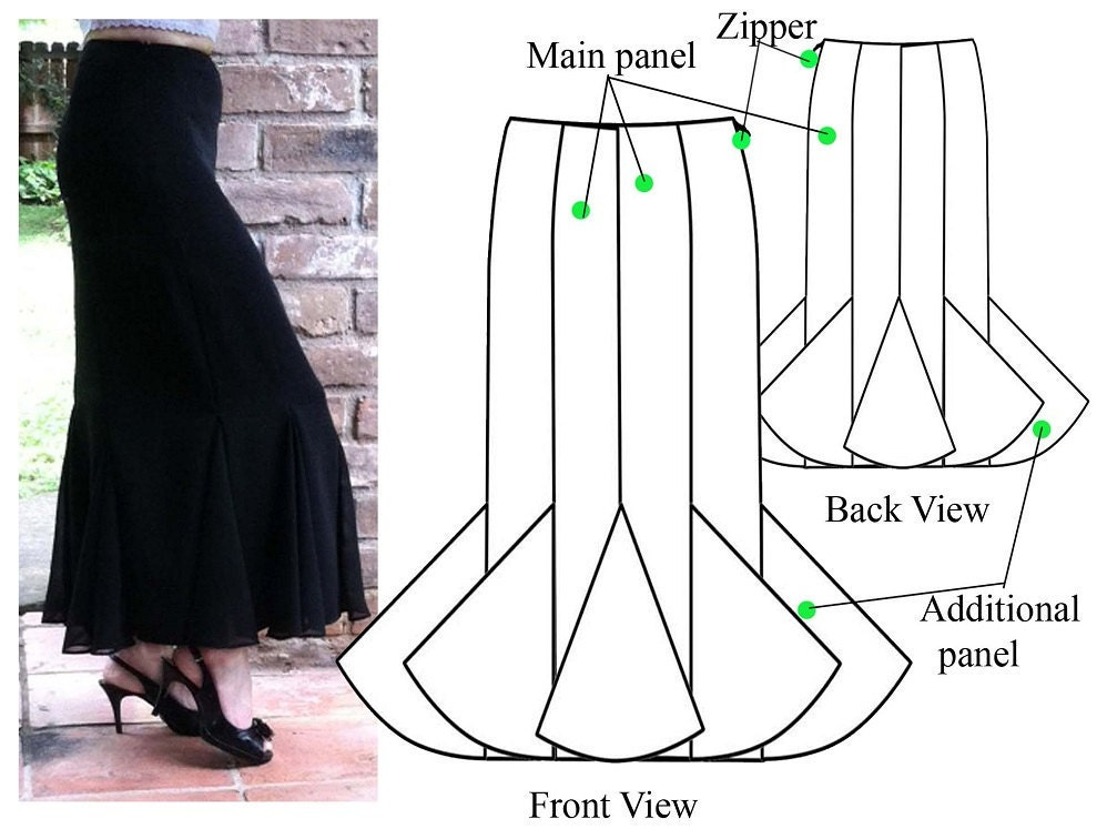 Gored skirt – PDF sewing pattern – Godet maxi skirt– Women\'s sewing pattern. Sizes 4, 6, 8, 10.