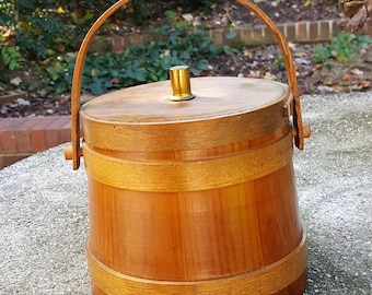 Vintage firkin bucket maple sap or sugar bucket wooden staves swing handle & lid great for sewing knitting notions buttons primitive kitchen