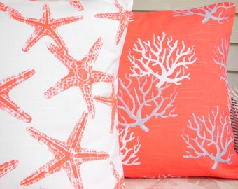 Coral/SalmonThrow Pillows Nautical Cushion Covers Two Nautical Coral Decorative Pillows Starfish Beach Pillow for Couch Bed Pillows Cushion