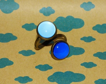 Ring adjustable double blue glass cabochons