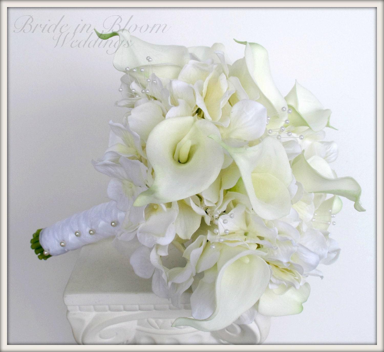 Brides wedding bouquet white calla lily bridal bouquet zoom junglespirit Images