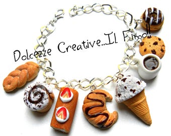 Bracelet small pastry - ice cream ice cream stracciatella, sugar, cinnamon rollse braid, Crescent, coffee, biscuit, bignet