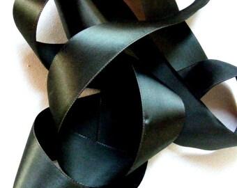 Vintage 1940's Taffeta Satin Ribbon 1 1/2 Inch Spruce Green