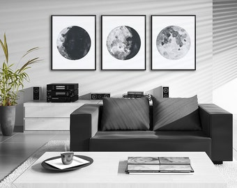 Moon Phases Watercolor Art Prints - Set of 3 Lunar Phases Prints #2 - Moon Chart Posters - Geeky Gift