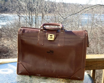 Etsy BDay Sale Vintage Leather Gladstone Style Briefcase With Brass Closure Clasp- Very Reasonably Priced