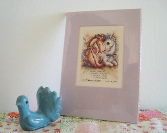 Vintage 1985 Jody Bergsma Lithograph with Mat Unframed in Plastic - Unicorn Pegasus