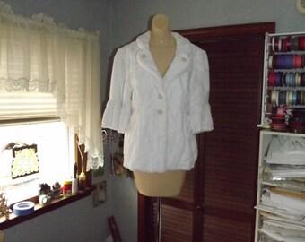 Ladies White Minky Jacket Size 8