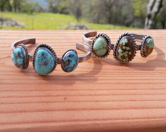 Triple Stone Turquoise Cuffs with Stamping Detail  (Number 8/White water Turquoise with Pyrite inclusions) solid, heavy duty sturdy cuff