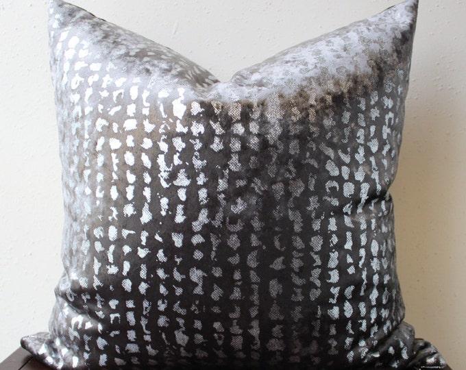 charcoal gray velvet pillow with silver metallic foil detail - charcoal velvet