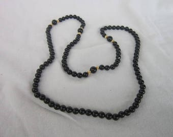 Beautiful Black Onyx & Gold Beaded 33 inch long Necklace
