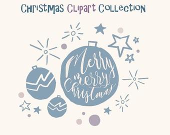 Christmas clip art Holidays decoration digital Christmas clipart PNG scrapbooking invitations printable Christmas card greetings Christmas
