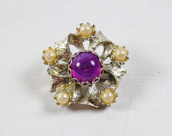 Vintage Silver and Purple Brooch with Faux Pearls