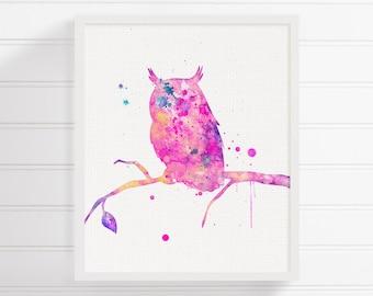 Pink Owl - Watercolor Owl Painting - Owl Art Print - Woodland Animals - Woodland Nursery Decor - Girls Room Decor, Watercolor Animal Nursery