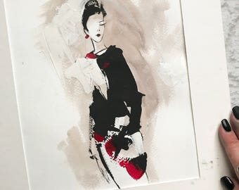 Modern Fashion Illustration Painting, Watercolor and Gouche Painting, Mixed Media Painting, Woman Fashion Sketching Art Painting