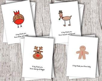 Personalised Christmas THANK YOU Cards inc. envelopes - Folded