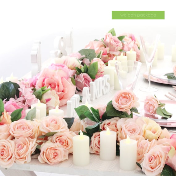 Blush Pink Flower Table Runner