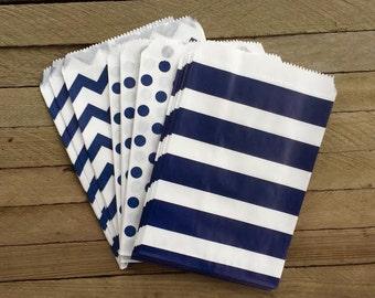 48 Navy Favor Bags-- Chevron, Stripe and Polka Dot Favor Bag--Candy Favor Bag--Chevron Goodie Bags--Chevron Party Sack--Birthday Treat Sacks