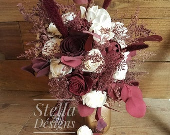 Ready to Ship Burgundy Wine Eucalyptus Sola Bouquet Wood Flowers Dried flowers