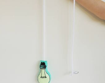 Natural night light - bulb phosphorescent glow in the dark - green mint white cord fabric