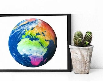 Rainbow Globe Drawing Print 8x10""