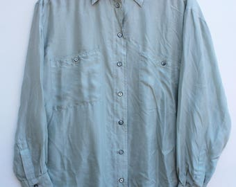 Women's Vintage Silk Button Shirt / Oversized SMALL S / Seafoam Green