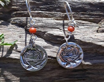 Fine Silver Rose Earrings with Coral Bead