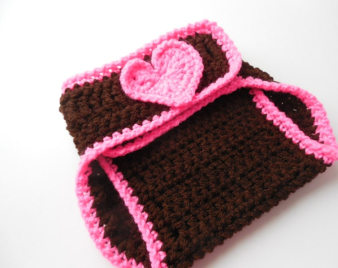 Girl Football Baby Diaper Cover - Brown and Hot Pink - Reduced - Clearance - Handmade Crochet - Ready to Ship