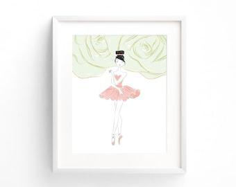 Pink Ballerina Wall Art, Ballet Art Print, Ballerina Nursery Decor, Ballerina Printable, Baby Girl Nursery Decor, Baby Shower Gift, Toddler