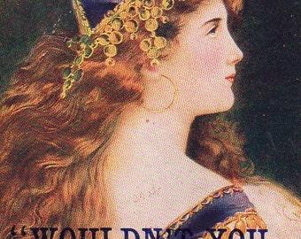 Carte postale VINTAGE signé, belle dame, Franck... recueillis par junqueTrunque
