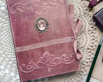 Victorian Handmade Journal A5 Hard cover notebook Secret Diary Old Book Style Antiqued Coffee Paper Blank journal  Mixed media journal