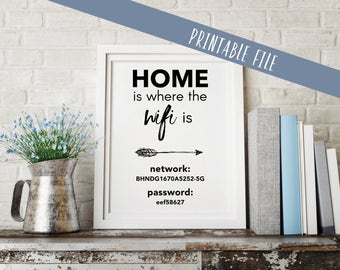 Wifi Password Printable | Home Is Where the Wifi Is | personalized | customize | 4x6 | 5x7 | 8x10 |