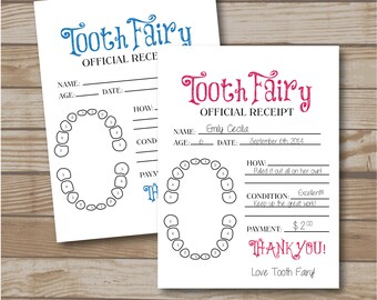Tooth Fairy Receipt for Boys and Girls - Tooth Fairy Note - Printable - Tooth Fairy Report - Lost Tooth Records - Instant Download