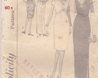 1960's Sewing Pattern - Simplicity 5322 Evening Dress, dress in two lengths Size 12