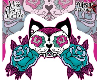 "Miss Cherry Martini Tattoo Sugar Skull Cat Sticker / Decal 5.25"" x 3.75 by Yujean JA738"