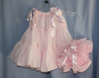 Pillowcase Heirloom Ruffle-tiered Pillowcase Dress  with sassy ruffle bloomers panty