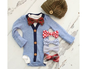 Easter  Newborn Baby Boy Coming Home Outfit Set of up to 2 Items. Cardigan Bodysuit, Bow Tie Bodysuit & Knit Newsboy Hat Outfit Tie Bodysuit
