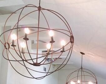 Orb hanging - orb Light- Orb Chandelier - Orb light - handmade - custom fabricated