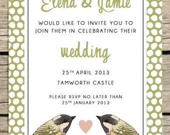 Polka dot wedding invitation, with hand illustrated birds