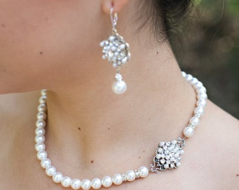 pearl necklace, pearl rhinestone necklace, Wedding Rhinestone necklace, swarovski crystal and pearl necklace, Statement necklace, CIARA