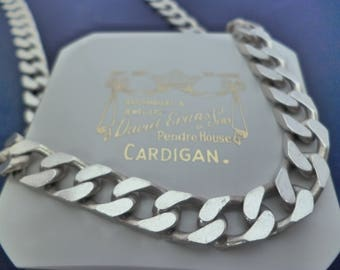 """A superb mens chunky curb chain necklace - 925 - sterling silver - Full UK Hallmark - 17"""" - 57.1 grams"""