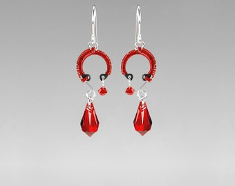 Red Swarovski Crystal Industrial Earrings, Red Wire Wrapped, Statement Earrings, Industrial Jewelry, Bridal Jewelry, Umbriel II v3