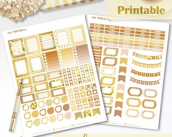 Gold planner stickers PRINTABLE for use with Erin Condren Life Planner™ stickers weekly set holiday sticker ECLP sitcker instant download