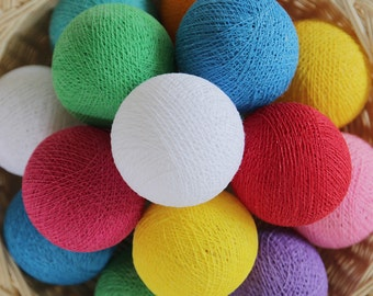 35 Mix Colors Cotton Ball String Lights for Bedroom Nursery Birthday Gift Wedding Party Fairy Patio Decor Rainbow Colorful Night Light