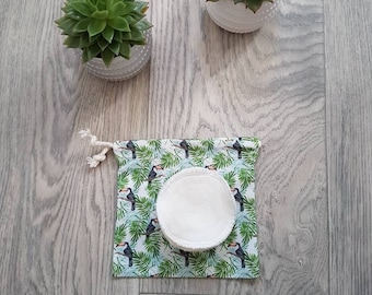 Reusable cotton pads. 12 makeup remover face pads/ rounds with wash bag. Zero waste cleansing wipes.