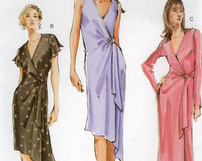 FREE US SHIP Vogue 7898 Wrap Robe Wrap Shaped Hem Dress 2004  Size 6 8 10 Bust 30 31 32 (Last size left)  Sewing Pattern