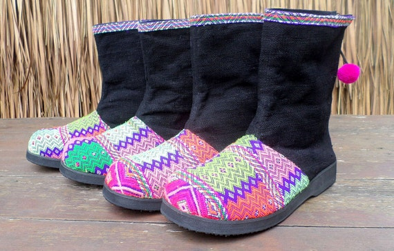 Ethnic Karen Boot Short Boots Tribal Textiles Womens Festival In Brilliant Funky Kala qEtAy