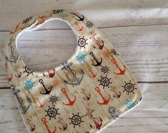 Rustic anchor baby bib, Nautical baby bib, baby bib