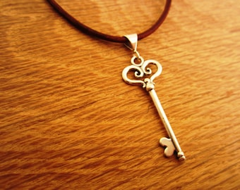 Sterling Silver Key Pendant with Leather and Sterling Silver Necklace