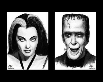 "Prints 5x7"" - Herman and Lily Munster - The Munsters Dark Art Halloween Horror Vintage Gothic Yvonne De Carlo Creepy Love Monster Pop Art"